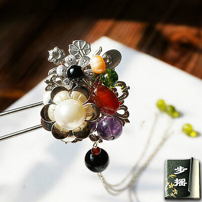 Gemstone Hair Pin - HAND MADE Prestige Antique hair stick Pearl Gemstone hair pin Ancient Chinese