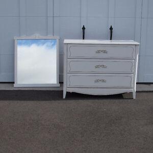 Commode en bois style shabby chic 3 tiroirs, table à langer
