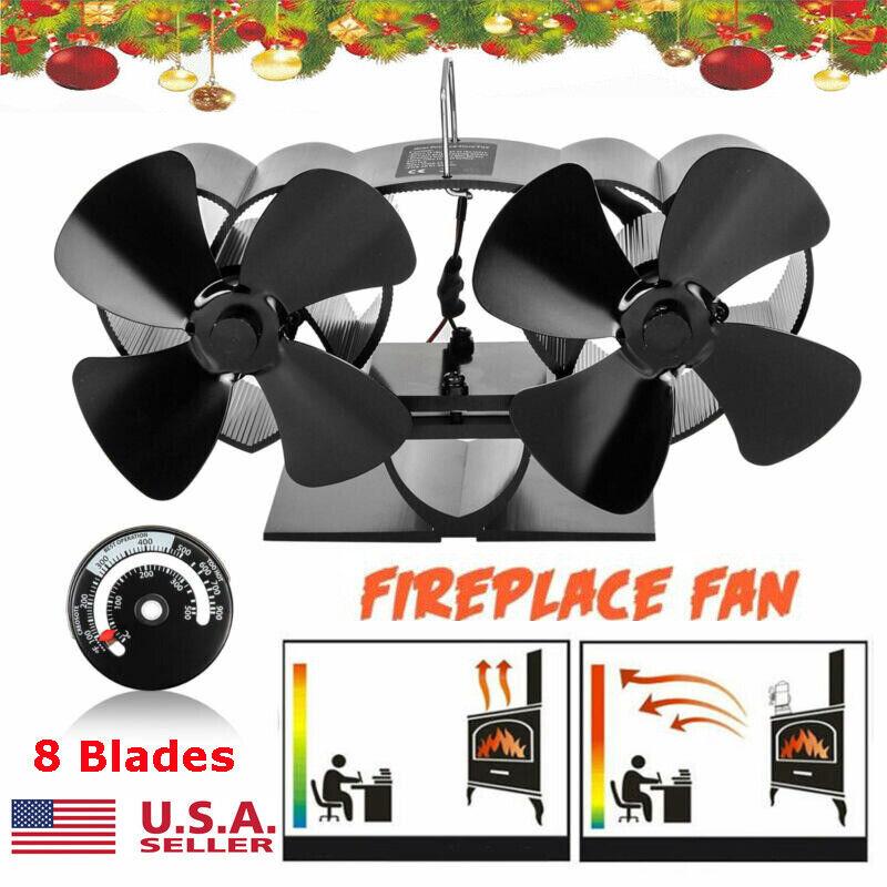 8 Blade Wood Stove Fan Heat Powered Eco Fireplace Fan Burner Double Motor Xmas