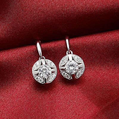 Elegant Women 925 Sterling Silver Ear Stud Crystal Rhinestone Fashion Earrings
