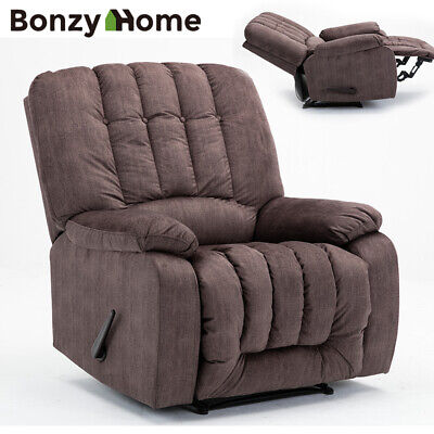Oversize Recliner Chair Heavy Duty Frame Soft Fabric Overstuffed High Back Seat High Back Recliner