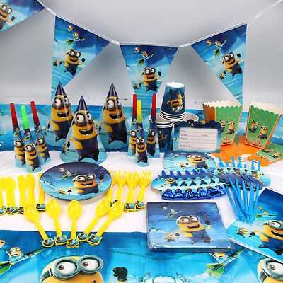 Minions Despicable Me Birthday Party Favor Tableware Decoration Banner Balloon
