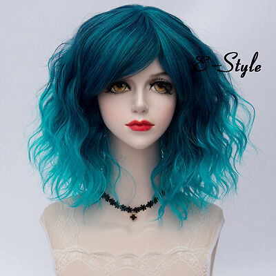 35CM Lolita Medium Curly Mixed Blue Women Cosplay Bang Ombre Party Wig + Cap (Blue Ombre Wig)