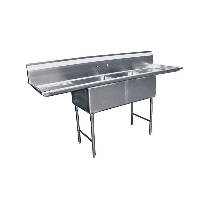 "2 Compartment Stainless Steel Sink 20""x24"" 2 Drainboard"