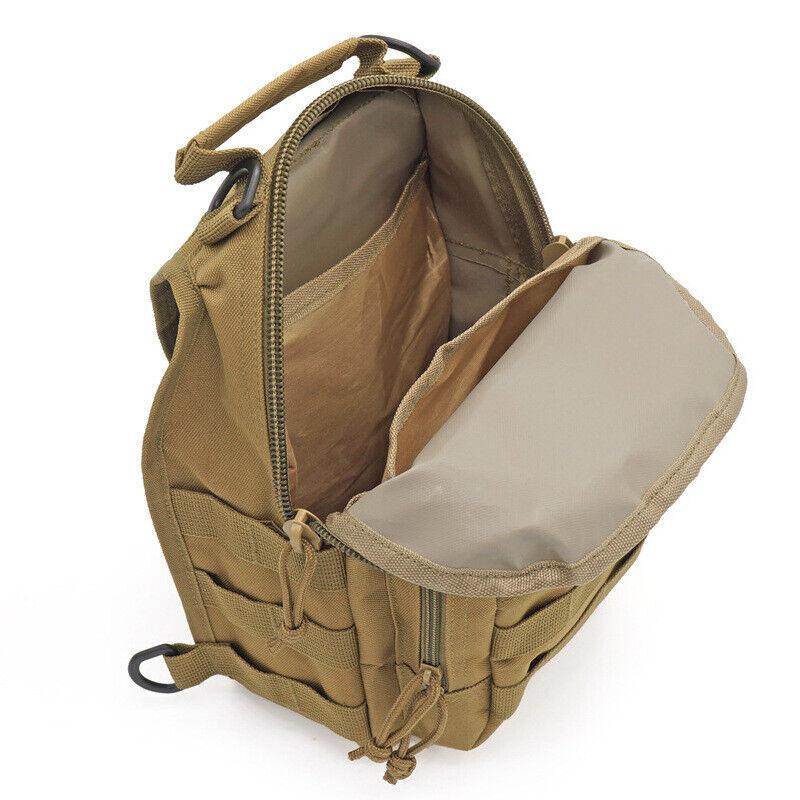 Men Backpack Molle Tactical Sling Chest Pack Shoulder Bag Outdoor Hiking Travel 2