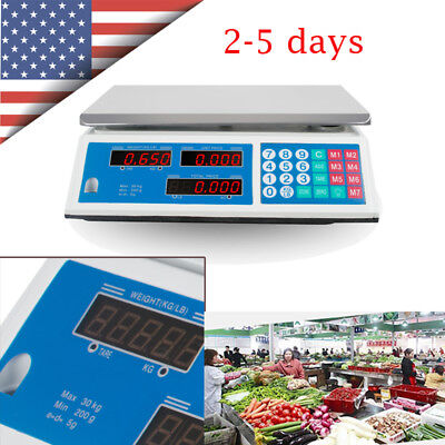66 Lb Digital Scale Price Computing Food Produce Electronic Counting Weight Usa