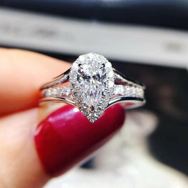 Elegant Women 925 Silver Rings Pear Cut Cubic Zirconia Jewelry Gift Sz 6-10