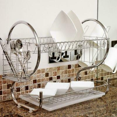 2-Tier Multi-function Stainless Steel Dish Drying Rack Bowl Cup Drainer Strainer