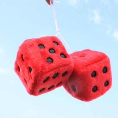 Plush Fuzzy Dice (2 Premium Large Fuzzy Plush Red Rearview Mirror Hang Dice for Car-Truck-Auto)
