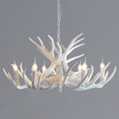 White Faux Antler Cascade Chandelier 1-Tier 6 Arms Candle Pendant Lighting Home ()