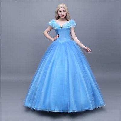 Cinderella Aschenputtel Disney Cosplay Costume Blau Abend Kleid Kostüm (Disney Satin Kostüm)
