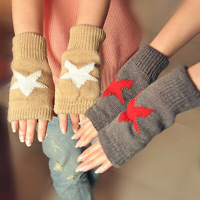 Men Women Warmer Winter Snow  Star Knitted Mittens Fingerless Arm Glove 2016