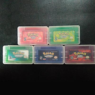 5pcs Pokemon Cartridge Game Card Firered Emerald Ruby Leaf Green Sapphire Fun
