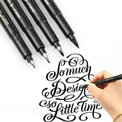 Black Calligraphy Marker (1PC Black Ink Calligraphy Pen Hand Lettering Brush Writing Drawing Marker Pens )