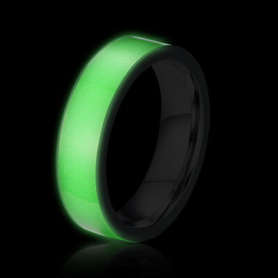 Glow in the Dark Couple Rings Stainless Steel Wedding Engagement Bands Size 5-12 (Glow In The Dark Wedding Rings)