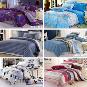 Striped-Double-Queen-King-Bed-Quilt-Doona-Cover-Set-New-100-Cotton-Pillowcases