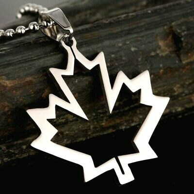 Stainless Steel Maple Leaf Canada National Flag Charm Pendant + FREE Necklace ()