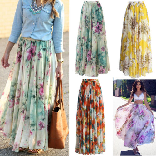 USA Ladys Fashion Chiffon BOHO Ladies Floral Gypsy Long Maxi