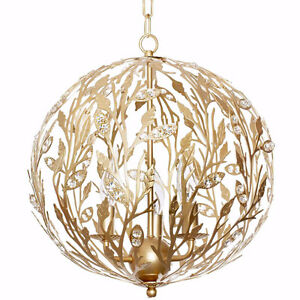 VEW - wrought iron light fixture with authentic white crystals.