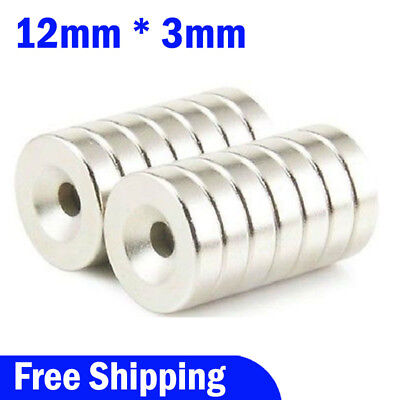 Lot 10-100 Strong Countersunk Ring Magnets 12x 3mm Rare Earth Neodymium 4mm Hole