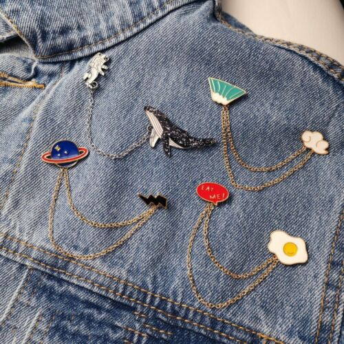 Fashion Enamel Piercing Chain Brooch Pin Collar Badge Corsag
