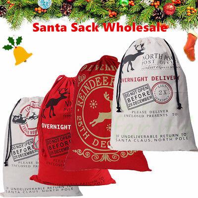 Wholesale 5/10Pc Christmas Santa Claus Sack Large Stocking Bag Hessian XMAS Gift - Large Christmas Stocking