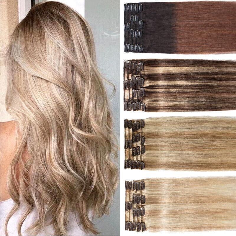 8 Haarteile Echthaar Clip In Extensions 8 Haarteile Remy Haar Haarverlängerung