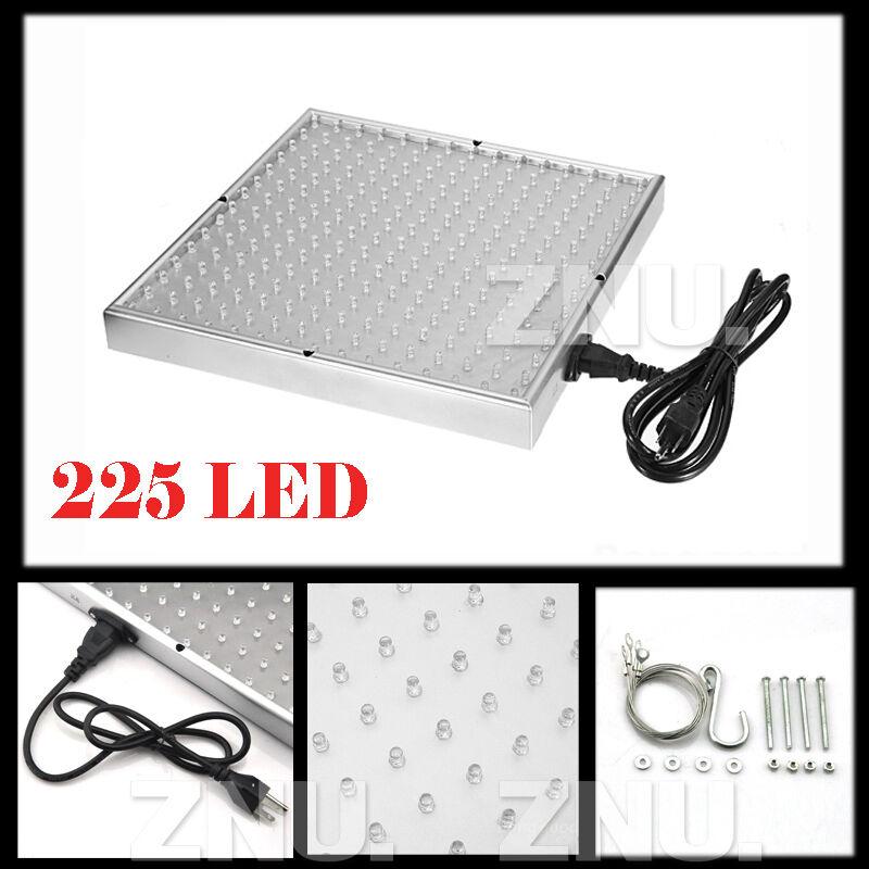 225 LED Grow Light Lamp Full Spectrum Blue Red Yellow White Plant Panel 110V 10W