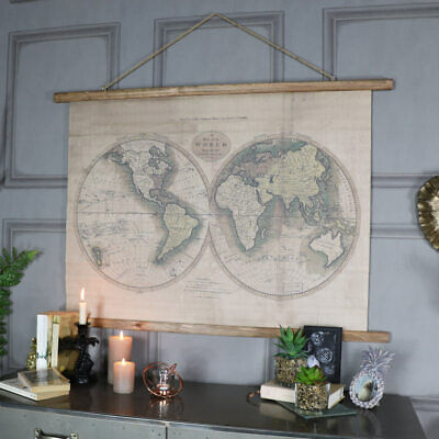 World Map Canvas Print Large Rustic Wall Hanging Decor Vintage Retro Art Poster