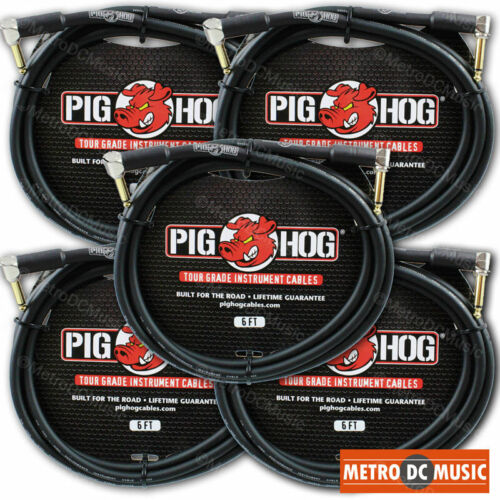 """5-Pack PIG HOG 6 foot ft 1/4"""" Right-Angle GUITAR INSTRUMENT CABLE PH6RR NEW"""
