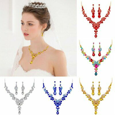 Fashion Wedding Bridal Party Crystal Statement Necklace Earrings Jewelry Set HOT