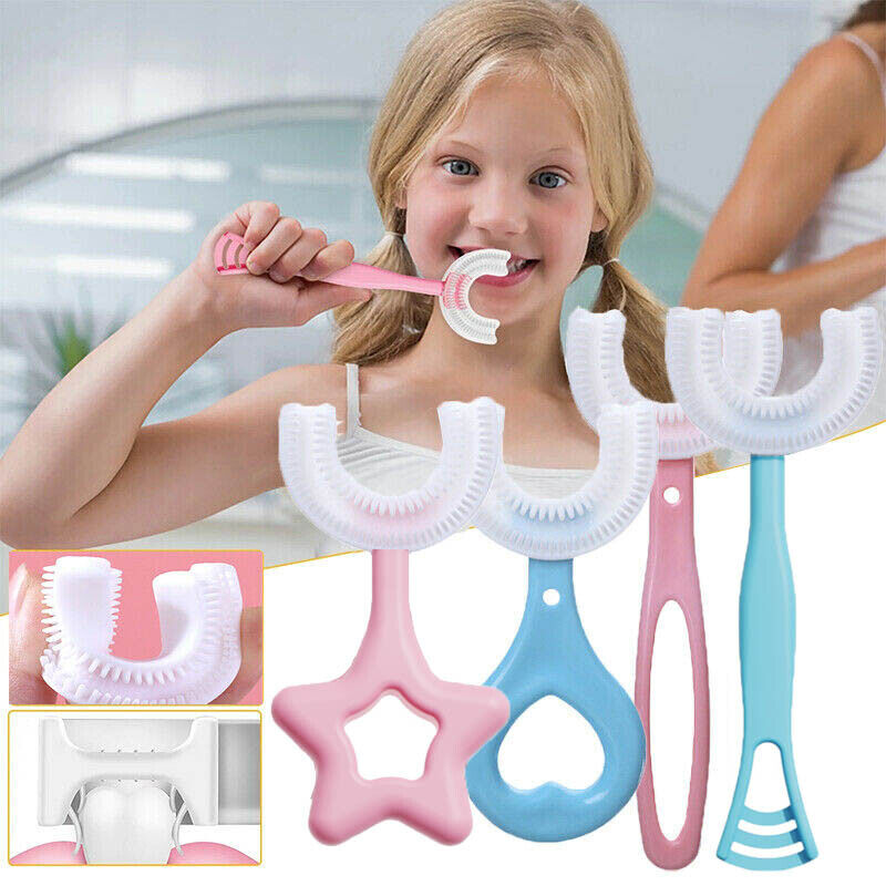 Kids U-Shape Toothbrush 360° Baby Oral Cleaning Silicone Manual Brush Health US