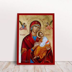 Panagia Theotokos Amolyntos with Jesus Greek byzantine orthodox icon handmade