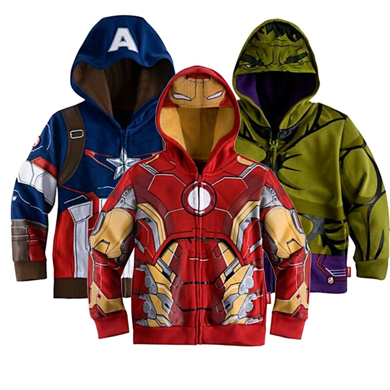 Boys Hoodie Jacket Iron Man Captain America Hulk Kids ...