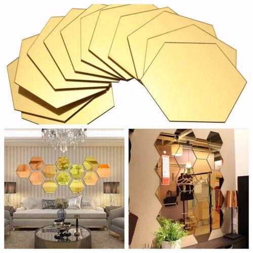 Home Decoration - 12 Pcs Hexagon Vinyl Home Decor Wall Stickers Decal DIY Removable 3D Mirror CA