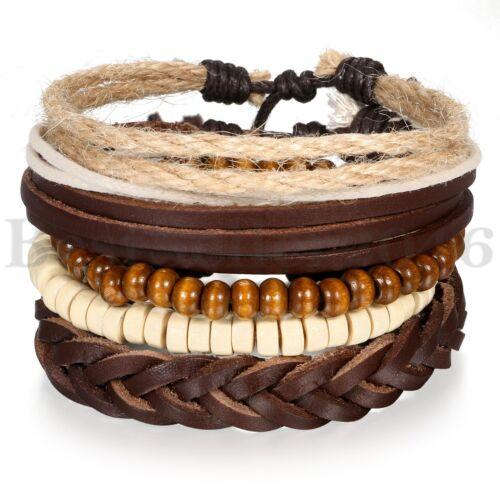 5pcs Leather Bracelets for Men Women Wooden Beaded Bangle Br