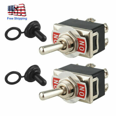 New 2pcs Heavy Duty Toggle Switch Flick Onon Car Dash 12v Dpdt Wmissile Cover