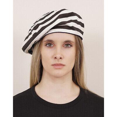 SZ M NEW $340 PRADA Woman's Brown White Striped POPLINE Cotton Beret HAT
