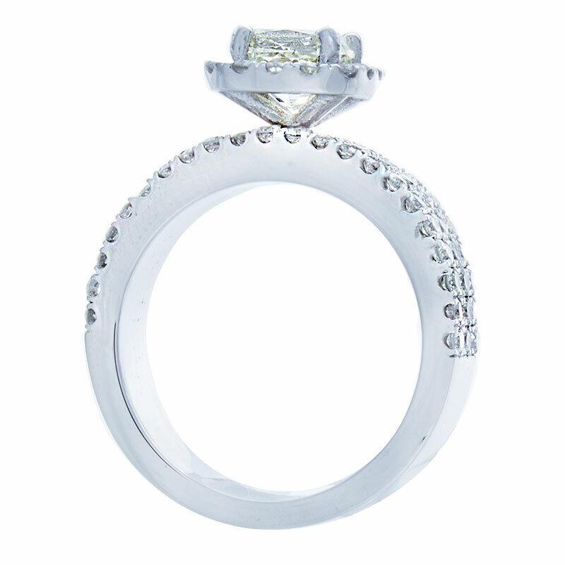 GIA Certified Diamond Engagement Ring 14k White Gold 2.12 CTW Natural Cushion  2