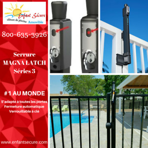 MAGNALATCH Series 3 for fence: Safety gate latch with hinges