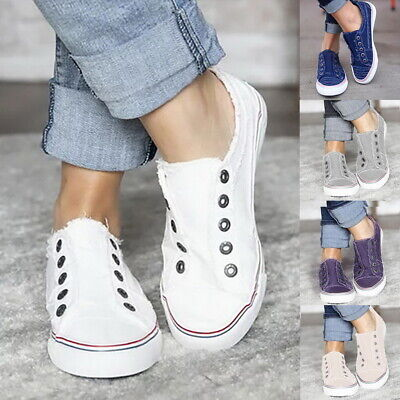 Womens Denim Canvas Loafers Pumps Casual Slip On Flat Trainers Sneakers Shoes US ()