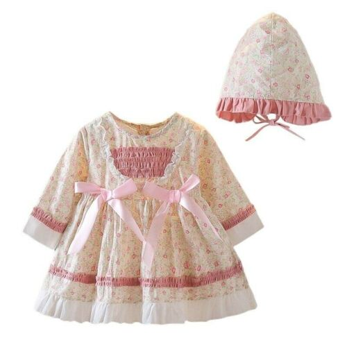 Maisie Baby Girl Floral Smock Accented Princess Dress and Bonnet