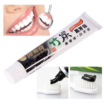BUY 2 GET 1 FREE Bamboo Charcoal Teeth Whitening Black Toothpaste Removes Stain
