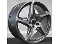 "18"" River R4 GMF Alloys & Tyres. Suit Audi A3,Volkswagen Caddy,Golf,Jetta,Passat,Seat Leon 5x112"