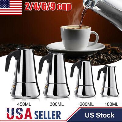 Stainless Steel Stovetop Espresso Coffee Maker Moka Pot Percolator 2/4/6/9 (4 Cup Stovetop Espresso Machine)