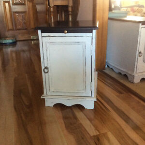 Side table/ night stand with pull out tray and storage compartme