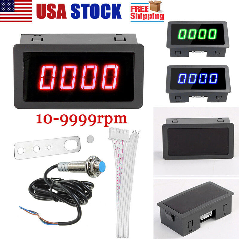 1x Digital Red LED Tachometer 10-9999 RPM Meter Gauge + Proximity Switch Sensor