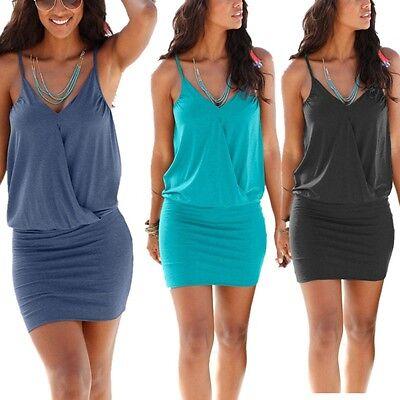 Damen Bodycon Minikleid V-Ausschnitt Sommerkleid Holiday Rückenfrei Kleider34-40