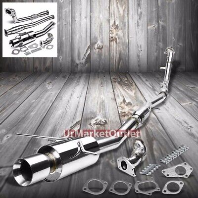"4.00"" Roll Muffler Tip Turbo/Cat-back Exhaust For Subaru 02-07 Impreza WRX H4"