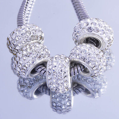 5PCS silver plated murano glass CZ charms beads  Fit European jewellery Bracelet ()